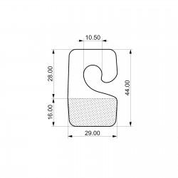 Odprti samolepilni obešalnik - 29 x 44 mm - za enojne kljukice