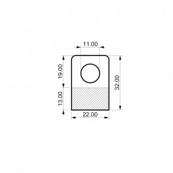 obešalnik za izdelke - 22 x 32 mm - za enojne kljukice