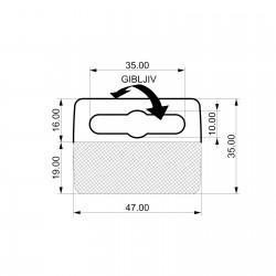 Zaprti samolepilen obešalnik za izdelke - V35 D47 - fleksibilen samolepilni del