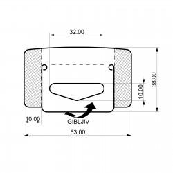 Zložljiv zaprti samolepilni obešalnik za izdelke - 63 x 38 mm