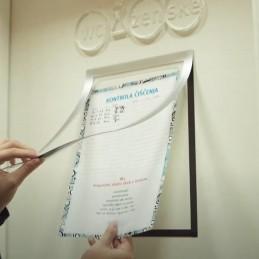 Magnetni vložni okvir samolepilni z izsekom za pisanje - srebrna - A4