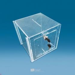 Pleksi steklena škatla za žrebanje s sprednjimi vrati - 200 x 200 x 200 mm