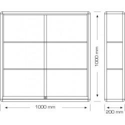 Stenska vitrina z drsnimi vrati 100 x 100 x 20 cm