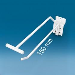 Kovinska enojna lamelna bela RAL9010 kljukica z nosilcem za ceno - 150 mm
