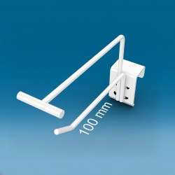 Kovinska enojna drsna oglata bela RAL9010 kljukica z nosilcem za ceno - 100 mm